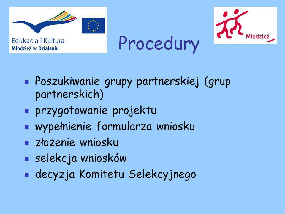 Procedury Poszukiwanie grupy partnerskiej (grup partnerskich) przygotowanie projektu wypełnienie formularza wniosku złożenie wniosku selekcja wniosków decyzja Komitetu Selekcyjnego