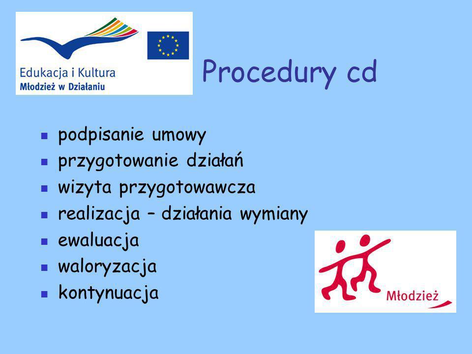 Procedury cd podpisanie umowy przygotowanie działań wizyta przygotowawcza realizacja – działania wymiany ewaluacja waloryzacja kontynuacja