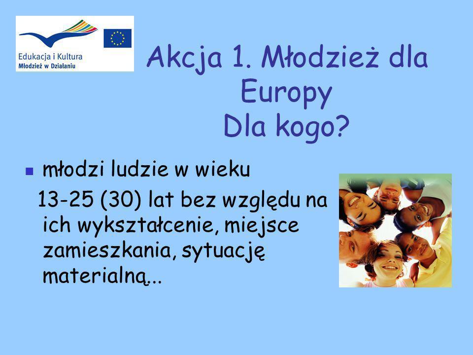Akcja 1. Młodzież dla Europy Dla kogo.