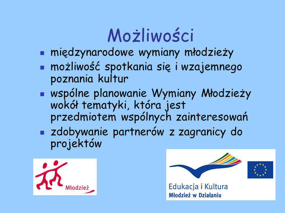 Możliwości międzynarodowe wymiany młodzieży możliwość spotkania się i wzajemnego poznania kultur wspólne planowanie Wymiany Młodzieży wokół tematyki, która jest przedmiotem wspólnych zainteresowań zdobywanie partnerów z zagranicy do projektów