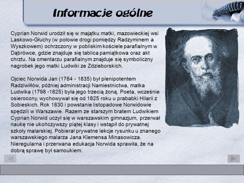 Cyprian Kamil Norwid patron III Liceum w Koninie Cyprian Norwid urodził się w majątku matki, mazowieckiej wsi Laskowo-Głuchy (w połowie drogi pomiędzy