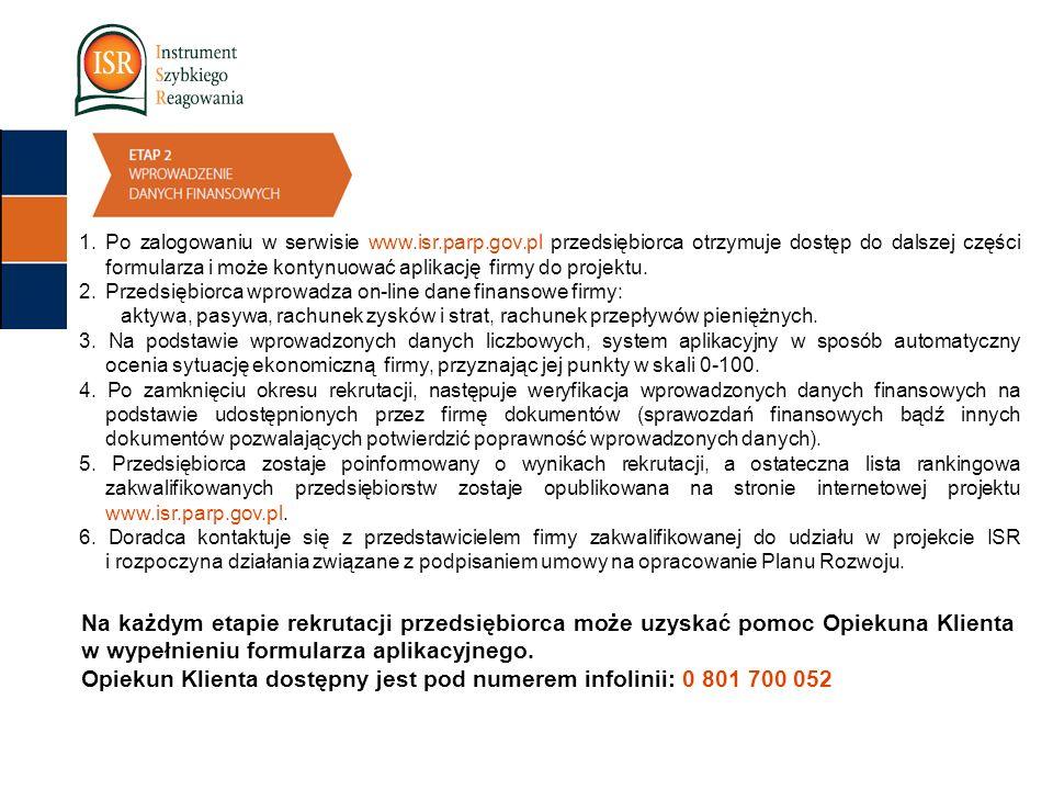 1.Po zalogowaniu w serwisie www.isr.parp.gov.pl przedsiębiorca otrzymuje dostęp do dalszej części formularza i może kontynuować aplikację firmy do projektu.