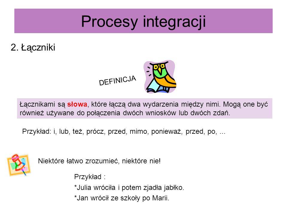 Procesy integracji 2. Łączniki Łącznikami są słowa, które łączą dwa wydarzenia między nimi. Mogą one być również używane do połączenia dwóch wniosków