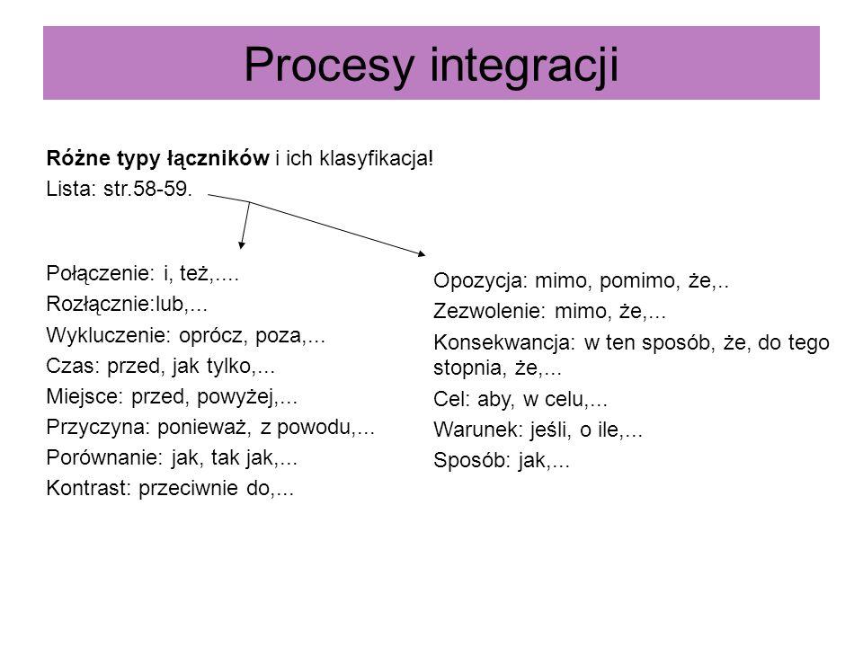 Procesy integracji Różne typy łączników i ich klasyfikacja! Lista: str.58-59. Połączenie: i, też,.... Rozłącznie:lub,... Wykluczenie: oprócz, poza,...