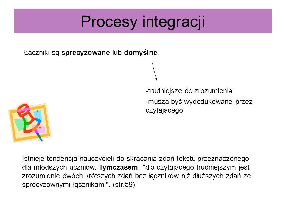 Procesy integracji Łączniki są sprecyzowane lub domyślne. -trudniejsze do zrozumienia -muszą być wydedukowane przez czytającego Istnieje tendencja nau