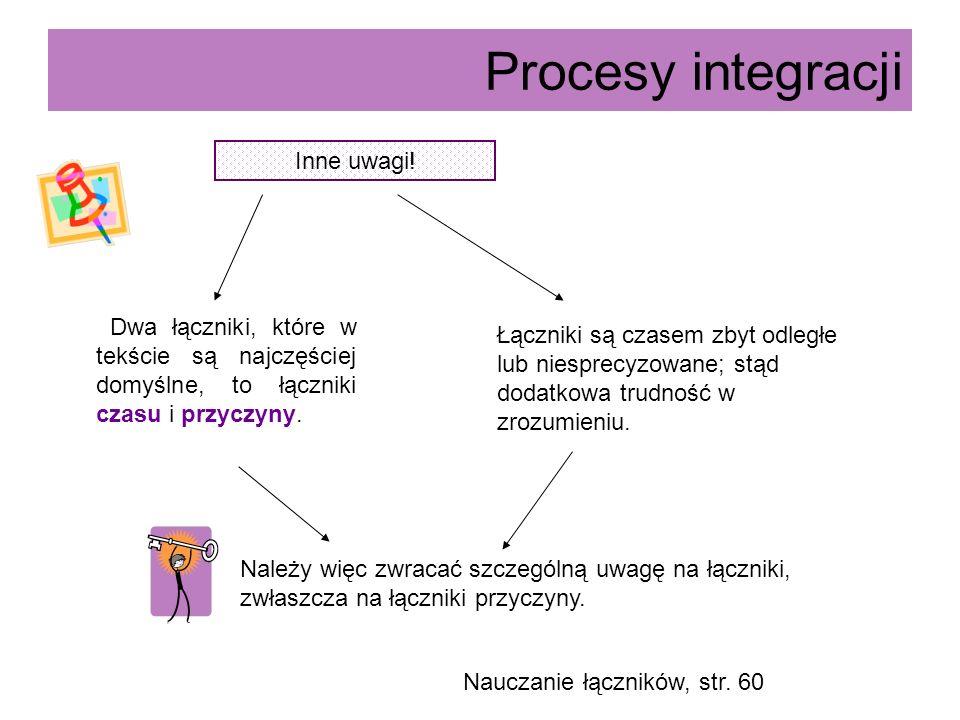 Procesy integracji Inne uwagi! Dwa łączniki, które w tekście są najczęściej domyślne, to łączniki czasu i przyczyny. Łączniki są czasem zbyt odległe l