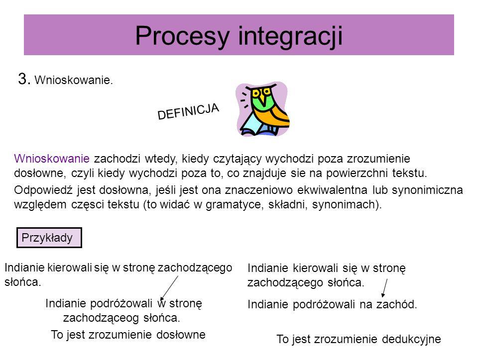 Procesy integracji 3. Wnioskowanie. DEFINICJA Wnioskowanie zachodzi wtedy, kiedy czytający wychodzi poza zrozumienie dosłowne, czyli kiedy wychodzi po