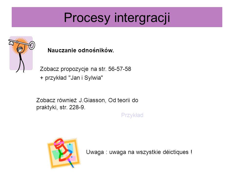 Procesy intergracji Nauczanie odnośników. Zobacz propozycje na str. 56-57-58 + przykład