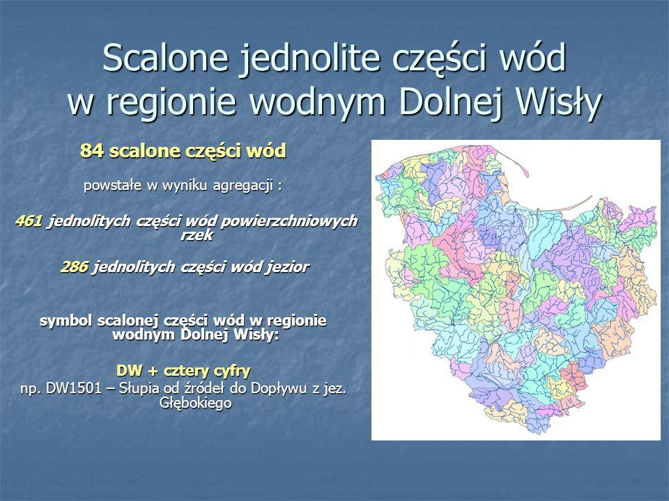 Scalone jednolite części wód w regionie wodnym Dolnej Wisły 84 scalone części wód powstałe w wyniku agregacji : 461 jednolitych części wód powierzchniowych rzek 461 jednolitych części wód powierzchniowych rzek 286 jednolitych części wód jezior symbol scalonej części wód w regionie wodnym Dolnej Wisły: DW + cztery cyfry np.