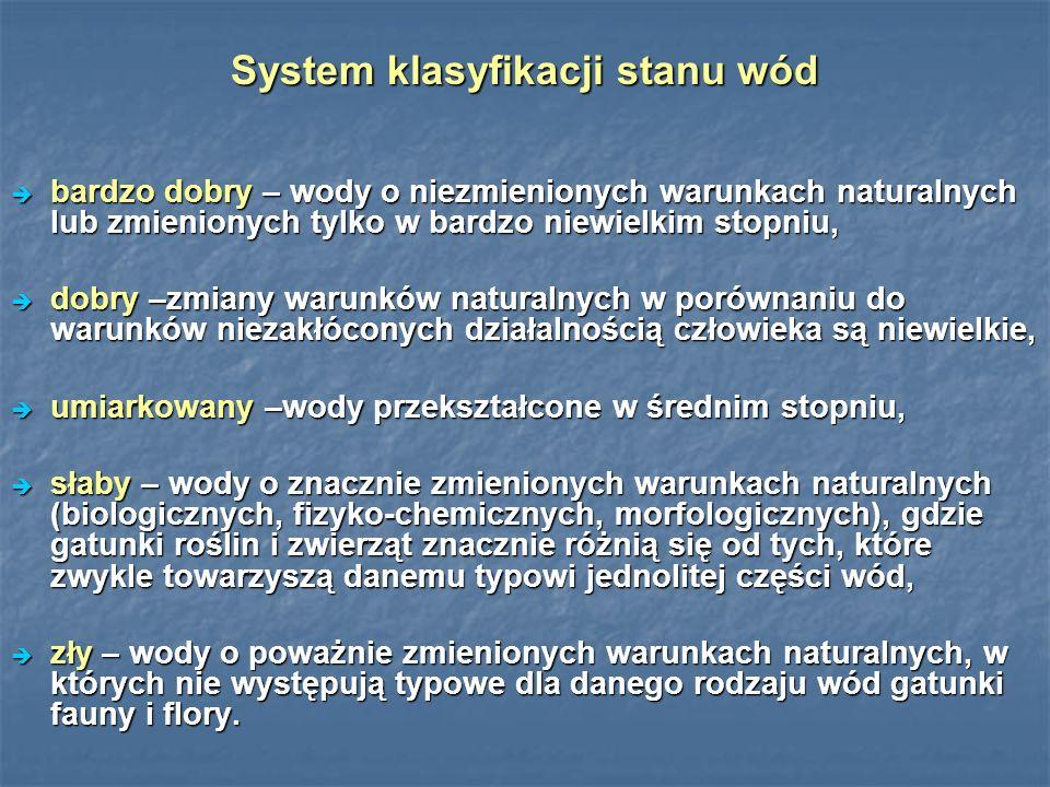 System klasyfikacji stanu wód bardzo dobry – wody o niezmienionych warunkach naturalnych lub zmienionych tylko w bardzo niewielkim stopniu, bardzo dobry – wody o niezmienionych warunkach naturalnych lub zmienionych tylko w bardzo niewielkim stopniu, dobry –zmiany warunków naturalnych w porównaniu do warunków niezakłóconych działalnością człowieka są niewielkie, dobry –zmiany warunków naturalnych w porównaniu do warunków niezakłóconych działalnością człowieka są niewielkie, umiarkowany –wody przekształcone w średnim stopniu, umiarkowany –wody przekształcone w średnim stopniu, słaby – wody o znacznie zmienionych warunkach naturalnych (biologicznych, fizyko-chemicznych, morfologicznych), gdzie gatunki roślin i zwierząt znacznie różnią się od tych, które zwykle towarzyszą danemu typowi jednolitej części wód, słaby – wody o znacznie zmienionych warunkach naturalnych (biologicznych, fizyko-chemicznych, morfologicznych), gdzie gatunki roślin i zwierząt znacznie różnią się od tych, które zwykle towarzyszą danemu typowi jednolitej części wód, zły – wody o poważnie zmienionych warunkach naturalnych, w których nie występują typowe dla danego rodzaju wód gatunki fauny i flory.