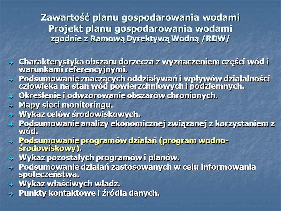Zawartość planu gospodarowania wodami Projekt planu gospodarowania wodami zgodnie z Ramową Dyrektywą Wodną /RDW/ Charakterystyka obszaru dorzecza z wyznaczeniem części wód i warunkami referencyjnymi.