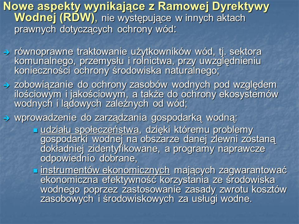 Nowe aspekty wynikające z Ramowej Dyrektywy Wodnej (RDW), nie występujące w innych aktach prawnych dotyczących ochrony wód : równoprawne traktowanie użytkowników wód, tj.