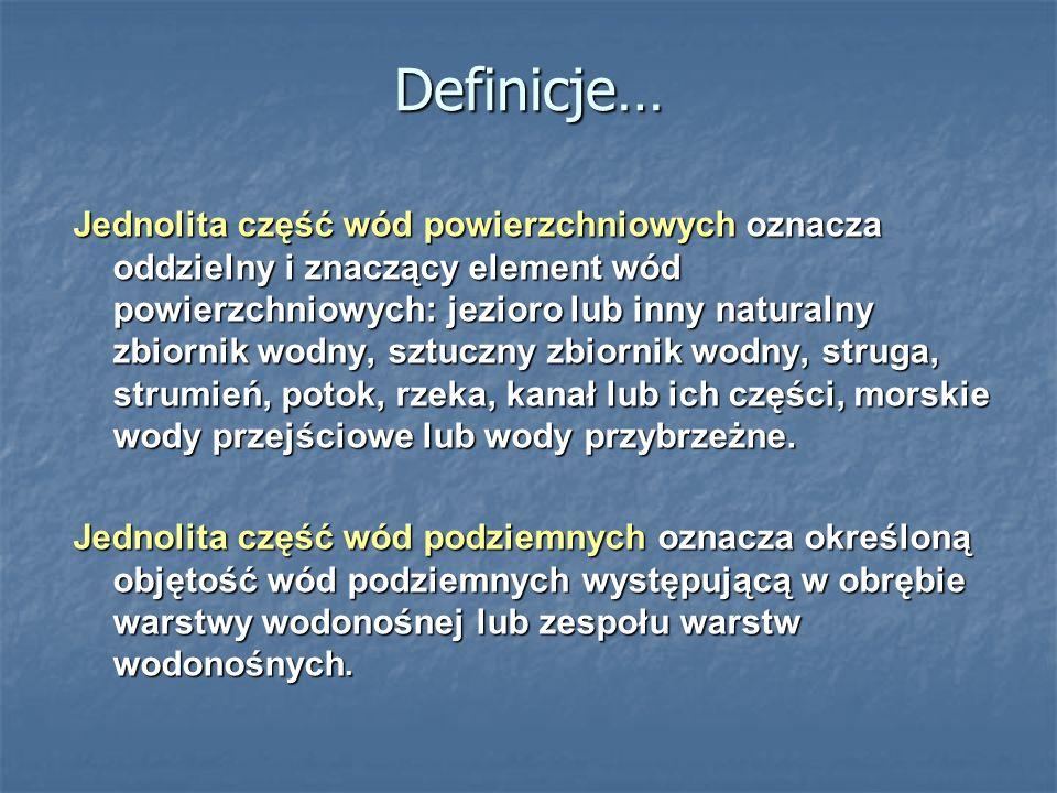 Definicje… Jednolita część wód powierzchniowych oznacza oddzielny i znaczący element wód powierzchniowych: jezioro lub inny naturalny zbiornik wodny, sztuczny zbiornik wodny, struga, strumień, potok, rzeka, kanał lub ich części, morskie wody przejściowe lub wody przybrzeżne.