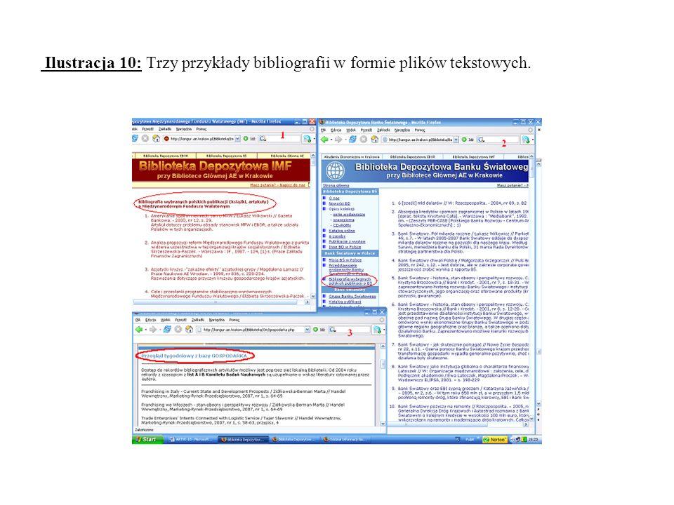 Ilustracja 10: Trzy przykłady bibliografii w formie plików tekstowych.