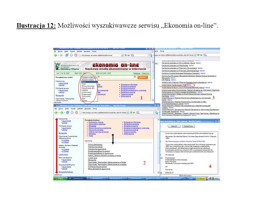 Ilustracja 12: Możliwości wyszukiwawcze serwisu Ekonomia on-line.