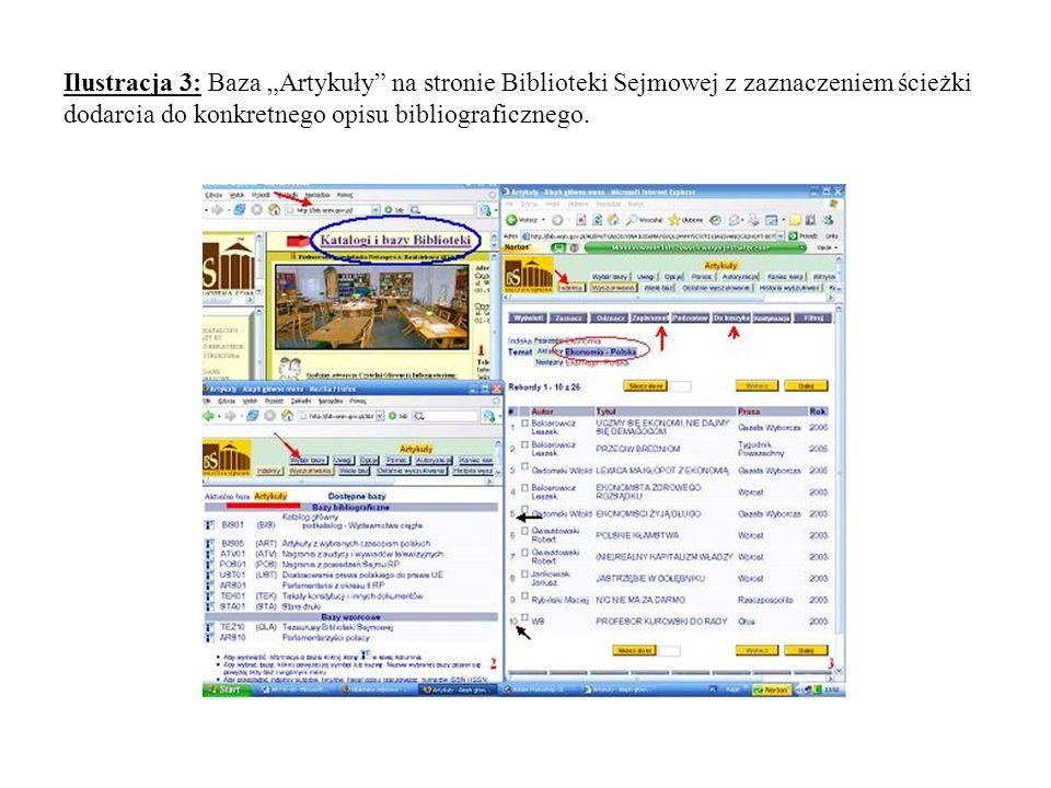 Ilustracja 3: Baza Artykuły na stronie Biblioteki Sejmowej z zaznaczeniem ścieżki dodarcia do konkretnego opisu bibliograficznego.
