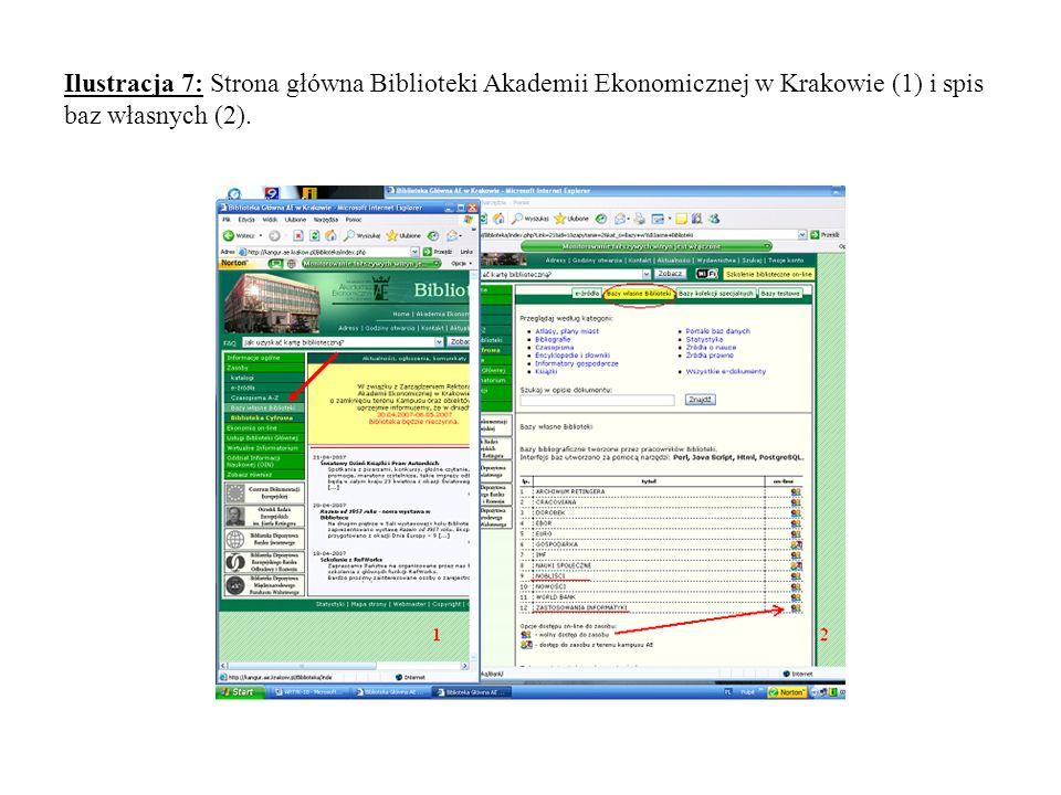 Ilustracja 7: Strona główna Biblioteki Akademii Ekonomicznej w Krakowie (1) i spis baz własnych (2).