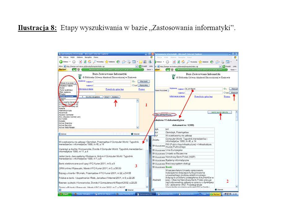 Ilustracja 8: Etapy wyszukiwania w bazie Zastosowania informatyki.