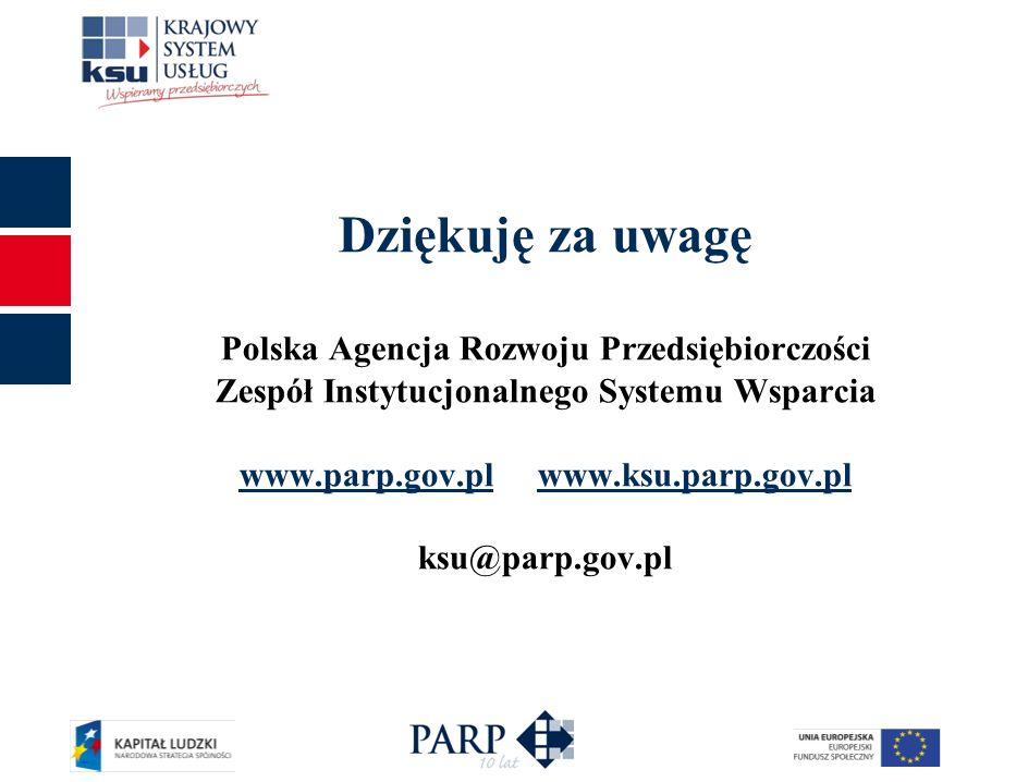 11 Dziękuję za uwagę Polska Agencja Rozwoju Przedsiębiorczości Zespół Instytucjonalnego Systemu Wsparcia www.parp.gov.pl www.ksu.parp.gov.pl ksu@parp.