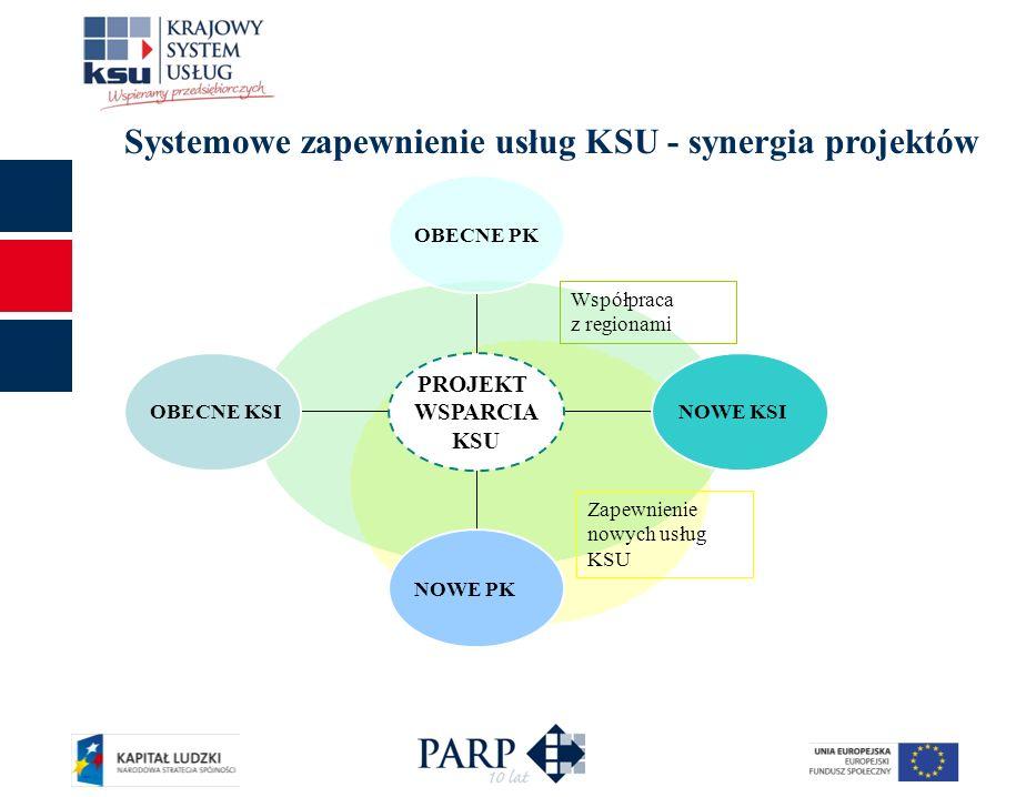Systemowe zapewnienie usług KSU - synergia projektów Zapewnienie nowych usług KSU OBECNE KSI NOWE PK NOWE KSI OBECNE PK PROJEKT WSPARCIA KSU Współprac