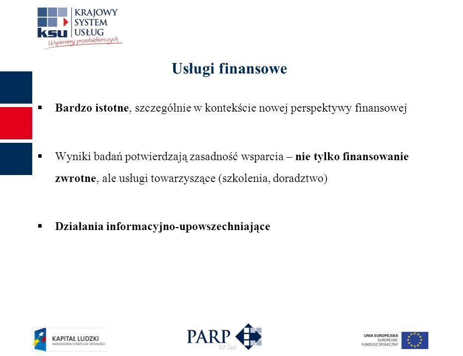 Usługi finansowe Bardzo istotne, szczególnie w kontekście nowej perspektywy finansowej Wyniki badań potwierdzają zasadność wsparcia – nie tylko finans