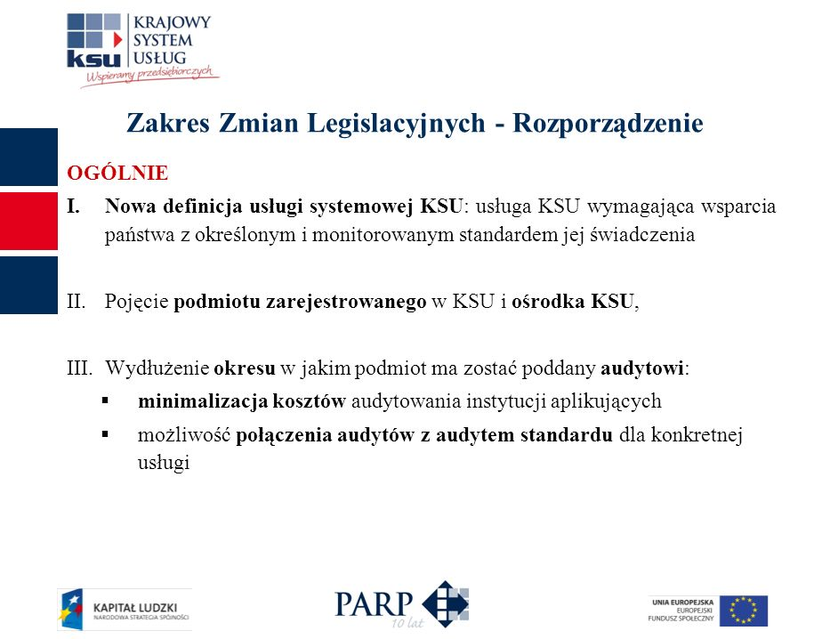 Zakres Zmian Legislacyjnych - Rozporządzenie OGÓLNIE I.Nowa definicja usługi systemowej KSU: usługa KSU wymagająca wsparcia państwa z określonym i mon