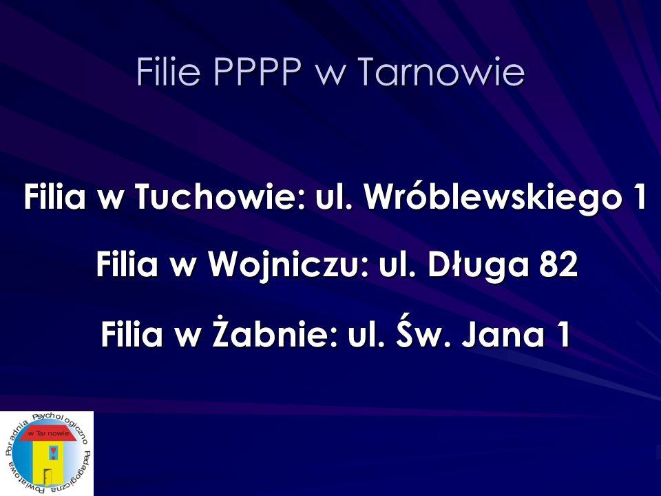 Filie PPPP w Tarnowie Filia w Tuchowie: ul. Wróblewskiego 1 Filia w Wojniczu: ul.