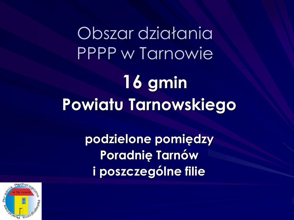 Obszar działania PPPP w Tarnowie 16 gmin Powiatu Tarnowskiego podzielone pomiędzy Poradnię Tarnów i poszczególne filie