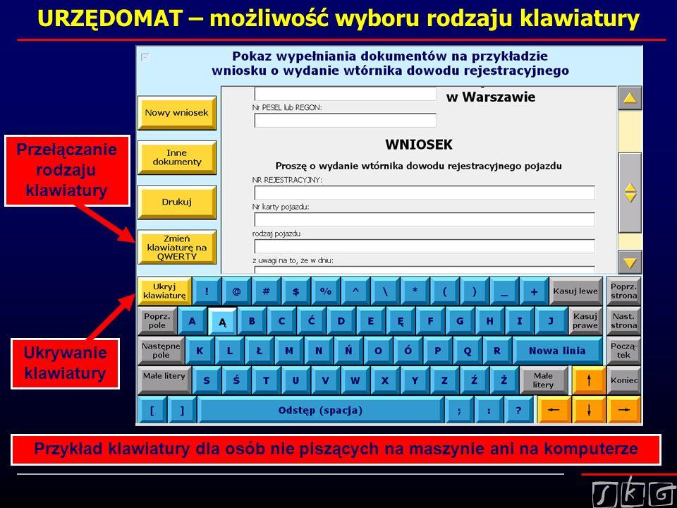 URZĘDOMAT – możliwość wyboru rodzaju klawiatury Przykład klawiatury dla osób nie piszących na maszynie ani na komputerze Przełączanie rodzaju klawiatu