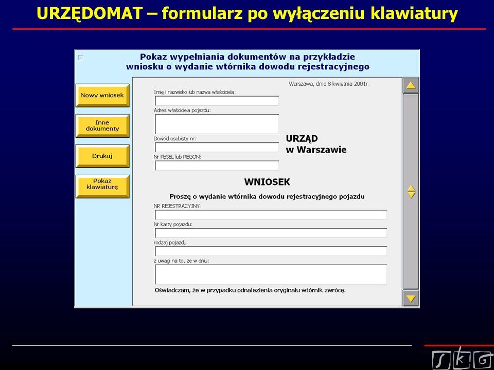 URZĘDOMAT – formularz po wyłączeniu klawiatury