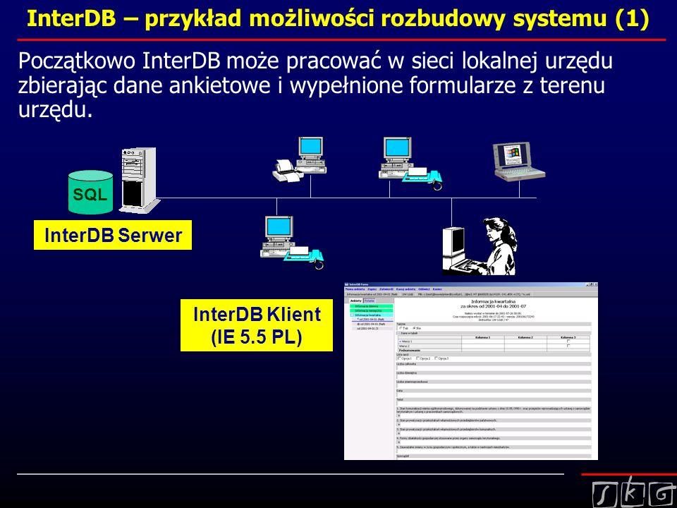 InterDB – przykład możliwości rozbudowy systemu (1) Początkowo InterDB może pracować w sieci lokalnej urzędu zbierając dane ankietowe i wypełnione for