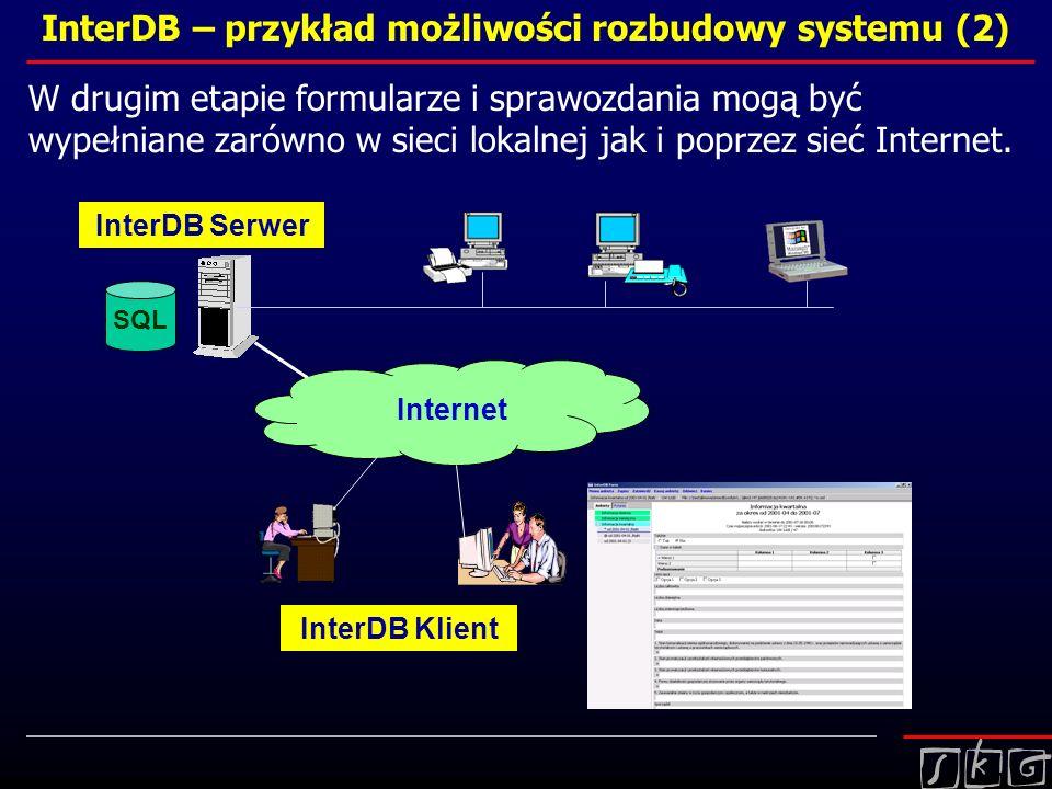 InterDB – przykład możliwości rozbudowy systemu (2) W drugim etapie formularze i sprawozdania mogą być wypełniane zarówno w sieci lokalnej jak i poprz