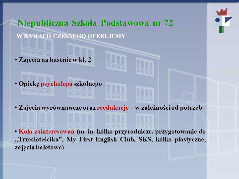 Niepubliczna Szkoła Podstawowa nr 72 W RAMACH CZESNEGO OFERUJEMY Zajęcia na basenie w kl. 2 Opiekę psychologa szkolnego Zajęcia wyrównawcze oraz reedu