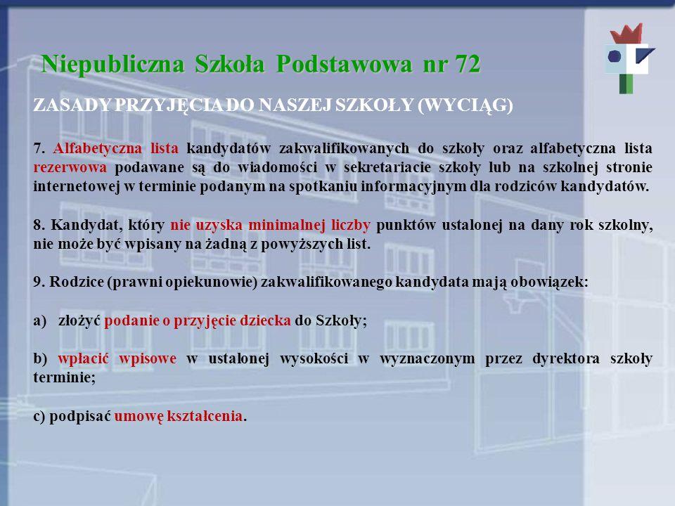 Niepubliczna Szkoła Podstawowa nr 72 ZASADY PRZYJĘCIA DO NASZEJ SZKOŁY (WYCIĄG) 7. Alfabetyczna lista kandydatów zakwalifikowanych do szkoły oraz alfa