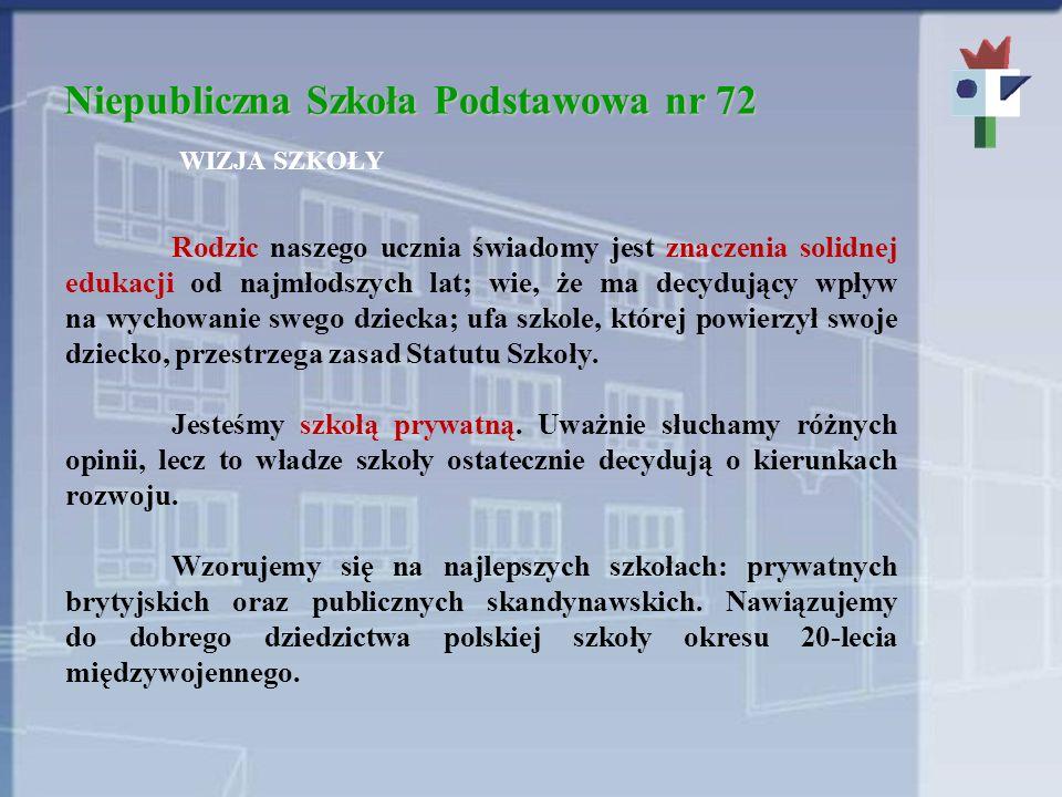 Niepubliczna Szkoła Podstawowa nr 72 WIZJA SZKOŁY Rodzic naszego ucznia świadomy jest znaczenia solidnej edukacji od najmłodszych lat; wie, że ma decy