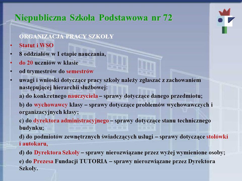 Niepubliczna Szkoła Podstawowa nr 72 ORGANIZACJA PRACY SZKOŁY Statut i WSO 8 oddziałów w I etapie nauczania, do 20 uczniów w klasie od trymestrów do s