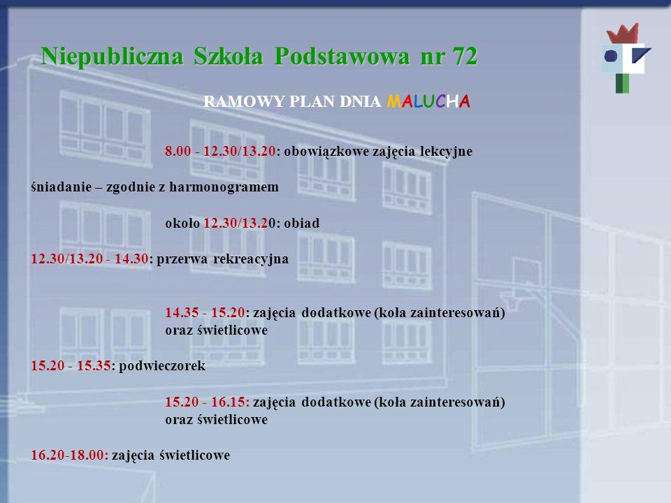 Niepubliczna Szkoła Podstawowa nr 72 RAMOWY PLAN DNIA MALUCHA 8.00 - 12.30/13.20: obowiązkowe zajęcia lekcyjne śniadanie – zgodnie z harmonogramem oko
