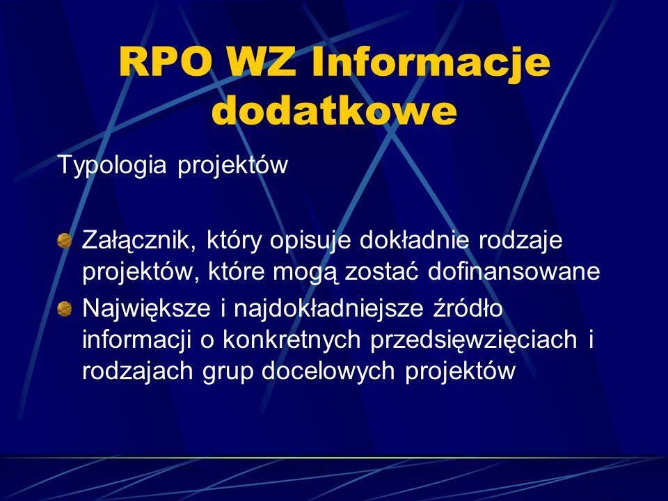 RPO WZ Informacje dodatkowe Typologia projektów Załącznik, który opisuje dokładnie rodzaje projektów, które mogą zostać dofinansowane Największe i najdokładniejsze źródło informacji o konkretnych przedsięwzięciach i rodzajach grup docelowych projektów