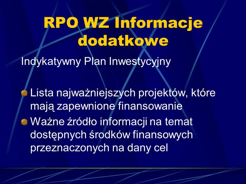 RPO WZ Informacje dodatkowe Indykatywny Plan Inwestycyjny Lista najważniejszych projektów, które mają zapewnione finansowanie Ważne źródło informacji na temat dostępnych środków finansowych przeznaczonych na dany cel