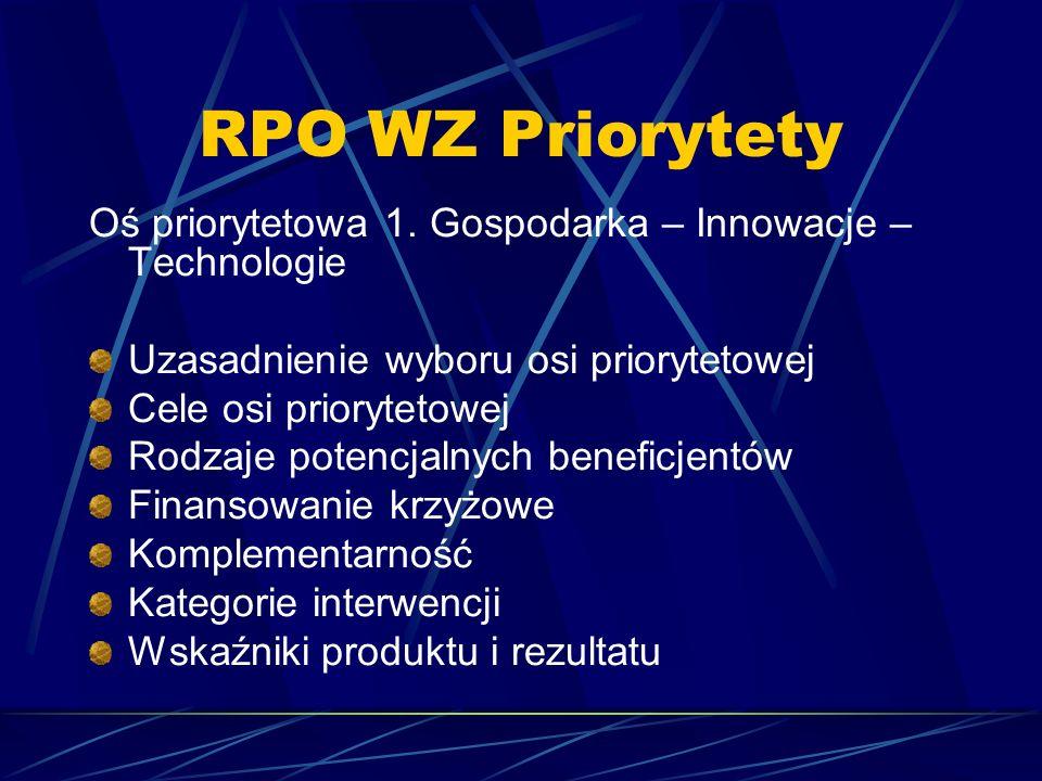 RPO WZ Priorytety Oś priorytetowa 1. Gospodarka – Innowacje – Technologie Uzasadnienie wyboru osi priorytetowej Cele osi priorytetowej Rodzaje potencj