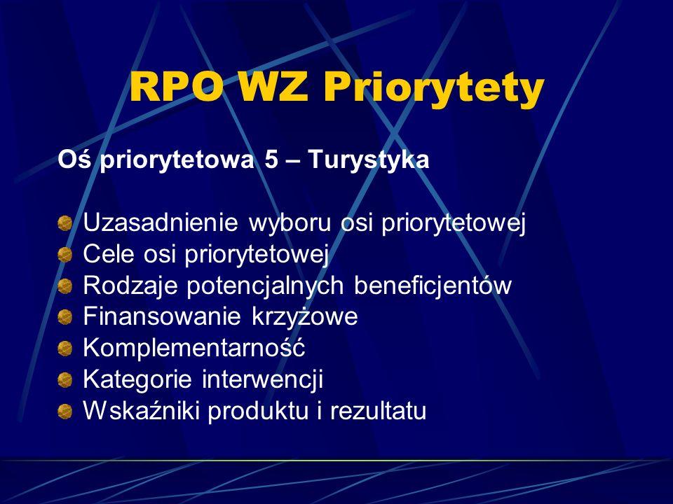 RPO WZ Priorytety Oś priorytetowa 5 – Turystyka Uzasadnienie wyboru osi priorytetowej Cele osi priorytetowej Rodzaje potencjalnych beneficjentów Finan