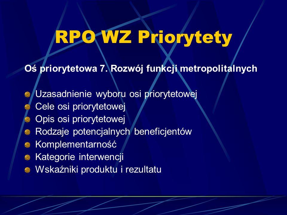 RPO WZ Priorytety Oś priorytetowa 7. Rozwój funkcji metropolitalnych Uzasadnienie wyboru osi priorytetowej Cele osi priorytetowej Opis osi priorytetow
