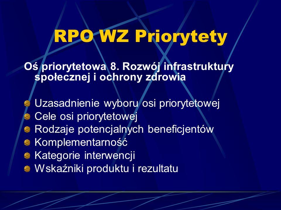 RPO WZ Priorytety Oś priorytetowa 8. Rozwój infrastruktury społecznej i ochrony zdrowia Uzasadnienie wyboru osi priorytetowej Cele osi priorytetowej R