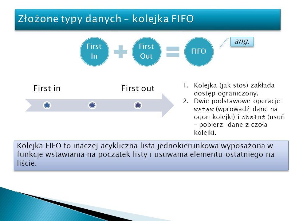 First In First Out FIFO ang. First inFirst out 1.Kolejka (jak stos) zakłada dostęp ograniczony. 2.Dwie podstawowe operacje: wstaw (wprowadź dane na og