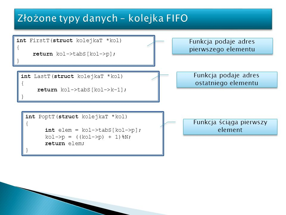 int FirstT(struct kolejkaT *kol) { return kol->tabS[kol->p]; } Funkcja podaje adres pierwszego elementu int LastT(struct kolejkaT *kol) { return kol->