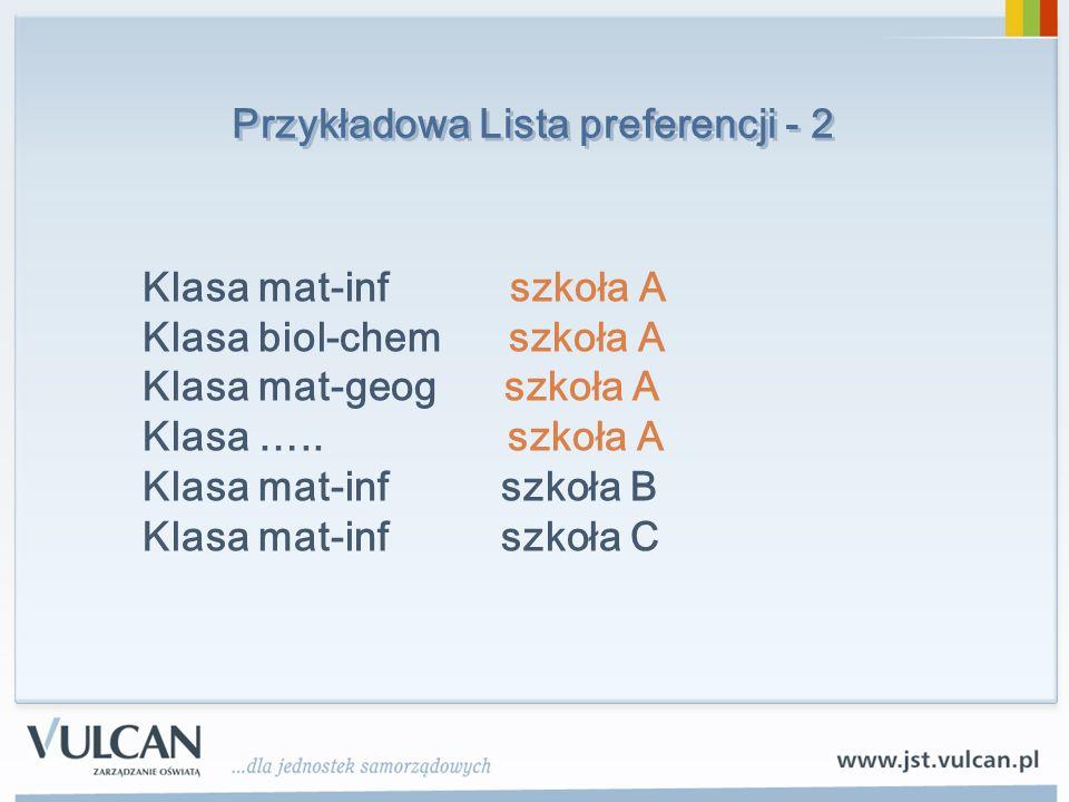 Przykładowa Lista preferencji - 2 Klasa mat-inf szkoła A Klasa biol-chem szkoła A Klasa mat-geog szkoła A Klasa …..