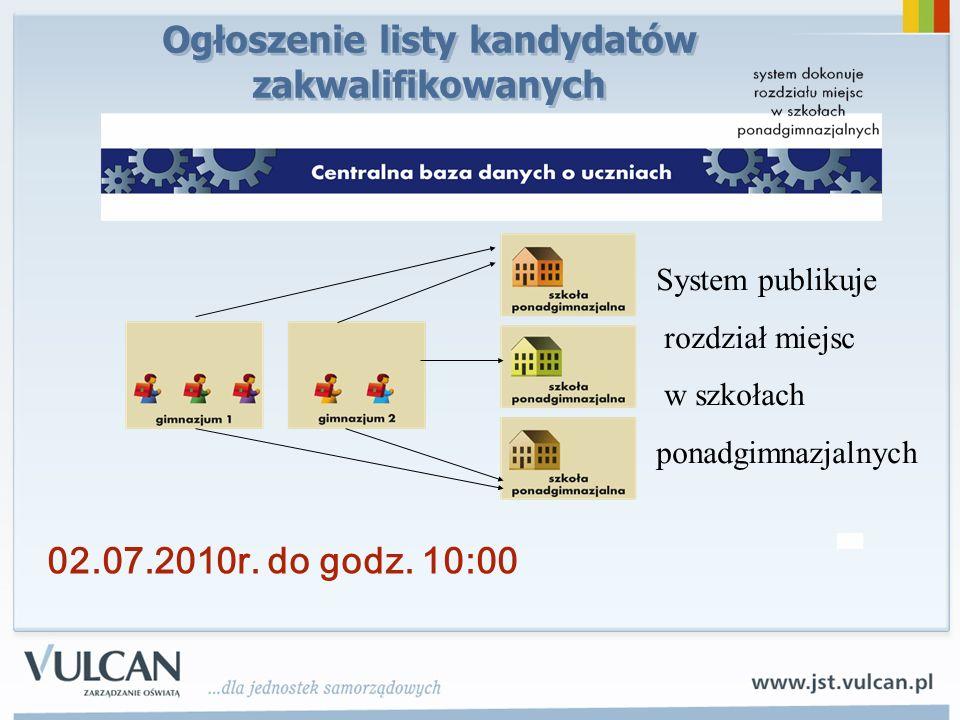 System publikuje rozdział miejsc w szkołach ponadgimnazjalnych 02.07.2010r.