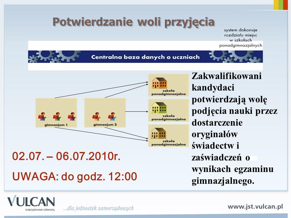 02.07.– 06.07.2010r. UWAGA: do godz.