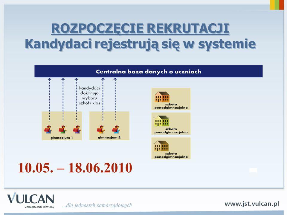 ROZPOCZĘCIE REKRUTACJI Kandydaci rejestrują się w systemie 10.05. – 18.06.2010