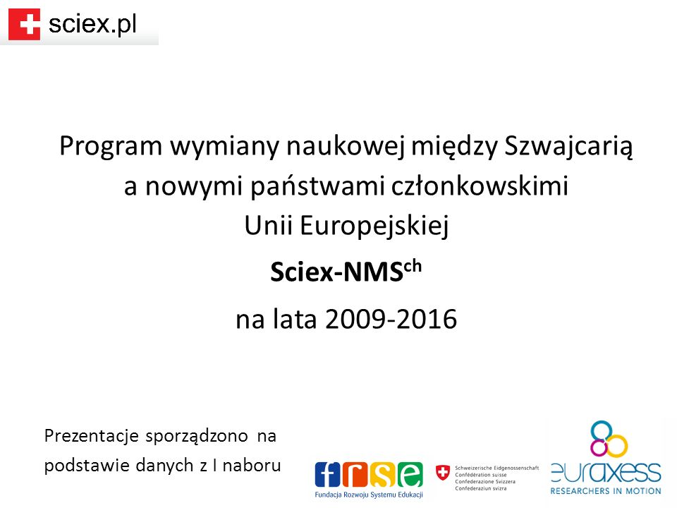 Program wymiany naukowej między Szwajcarią a nowymi państwami członkowskimi Unii Europejskiej Sciex-NMS ch na lata 2009-2016 Prezentacje sporządzono na podstawie danych z I naboru